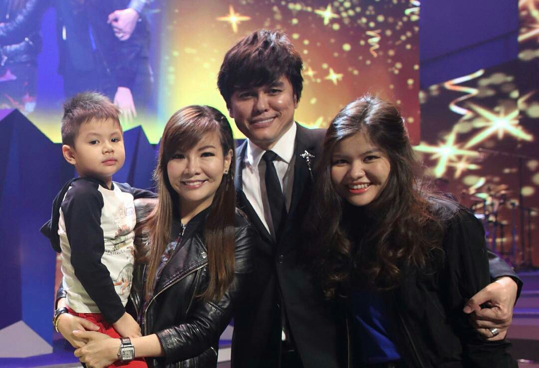 Pastor Joseph Prince with his wife Wendy Prince, and two children Jessica Shayna Prince and Justin David Prince.