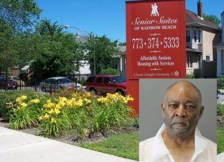 The Senior Suites of Rainbow Beach in Chicago, Illinois and alleged killer, Pastor Ted Merchant, 67 (inset).   (Photos: Facebook; Chicago PD)