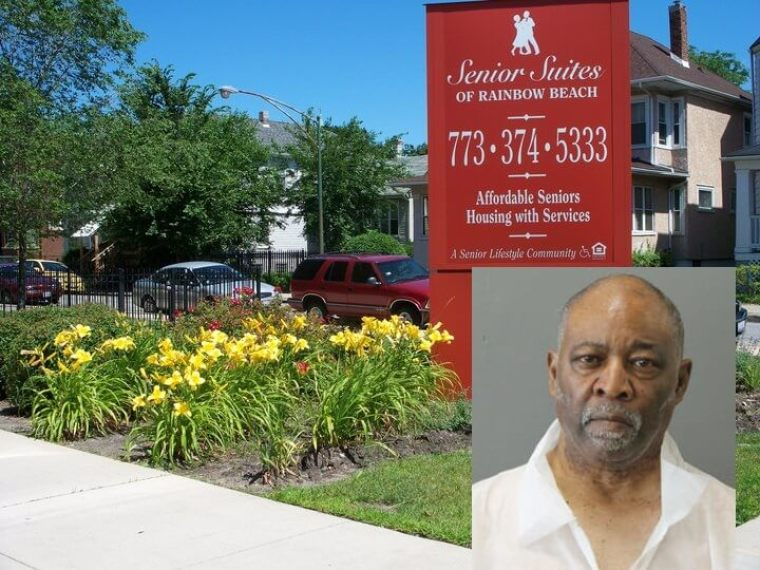 The Senior Suites of Rainbow Beach in Chicago, Illinois and alleged killer, Pastor Ted Merchant, 67 (inset). | (Photos: Facebook; Chicago PD)