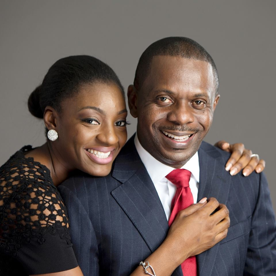 Pastor Poju Oyemade with his wife Toyin on their 3rd wedding anniversary February 7th 2018