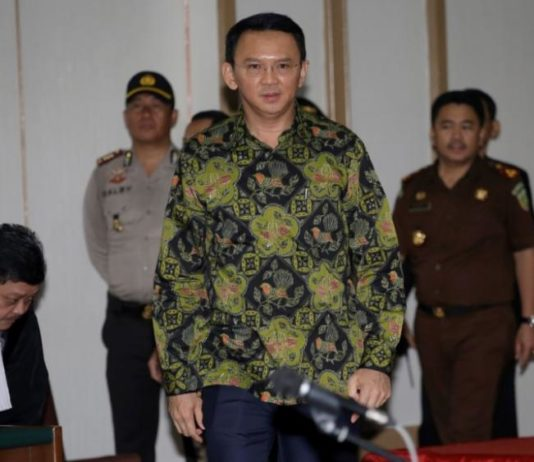 "Jakarta Christian Governor Basuki ""Ahok"" Tjahaja Purnama arrives for his court hearing in Jakarta, Indonesia"