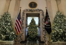"The theme of the White House Christmas decorations this year is ""Time-Honored Traditions."