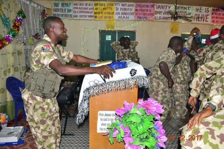 Nigerian Military Troops In Prophetic Prayer, Praise & Worship Session