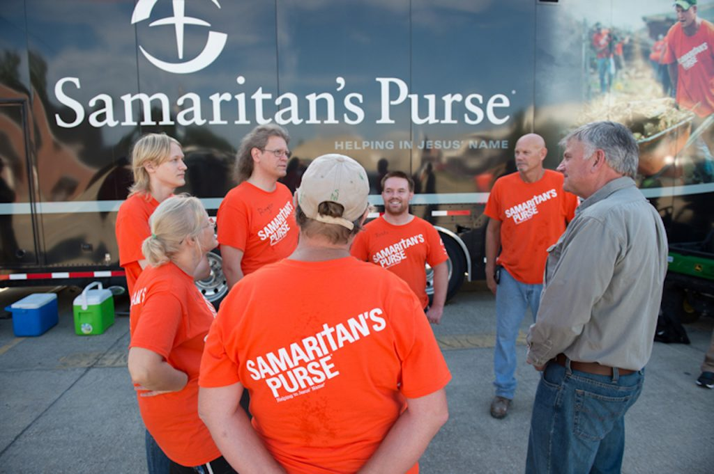Samaritan's Purse President Franklin Graham with some members of his team