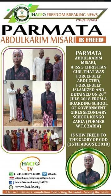 Kidnapped Christian Girl, Parmata Abdulkarim Misari Regains Freedom