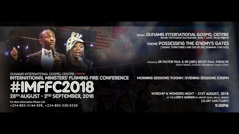 Watch Dunamis Int'l Ministers' Flaming Fire Conference 2018 – Live Stream