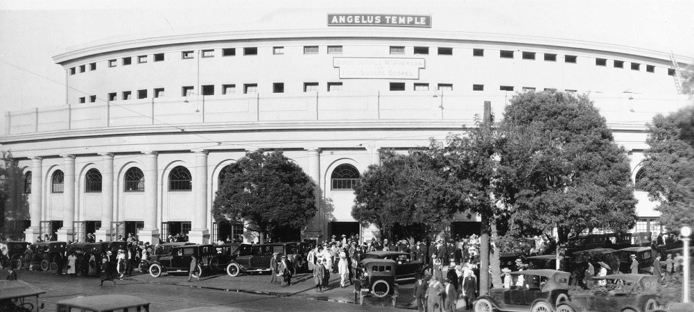 Photo of a crowd outside the Angelus Temple, circa 1923-35, courtesy of the California Historical Society Collection, USC Libraries.