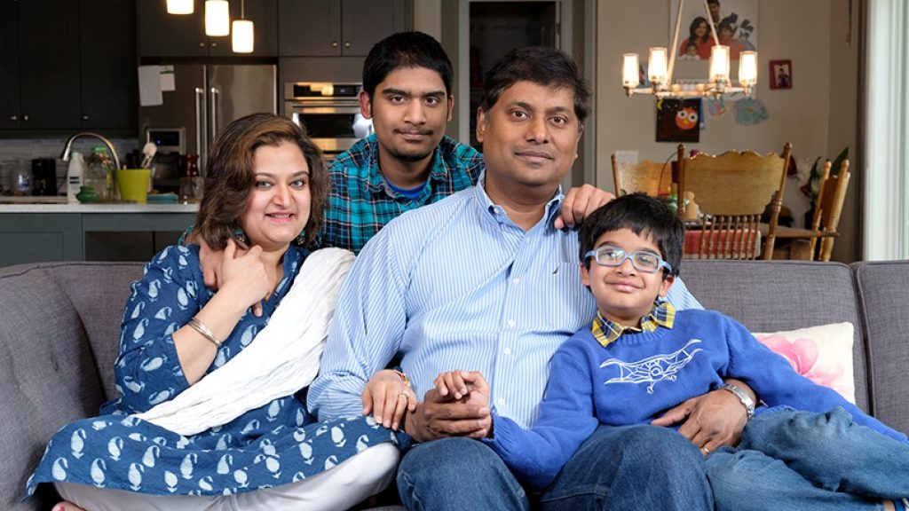 From left: Christina Srinivasan with her son Aniruddh, husband Bharath, and son Adhu