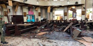 Inside a Roman Catholic cathedral in Jolo, the capital of Sulu province in southern Philippines after two bombs exploded Sunday, Jan. 27, 2019.
