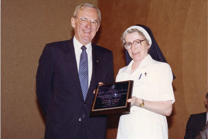 Bill Hayden and Sister Angela Mary in 1989