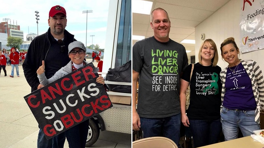Left: Carole and her husband, Trent, at an Ohio State Buckeyes game right before she found out she needed a transplant. Right: Jason, his wife, Stephanie, and Carole celebrating the gift of life. (Courtesy: Carole Motycka)