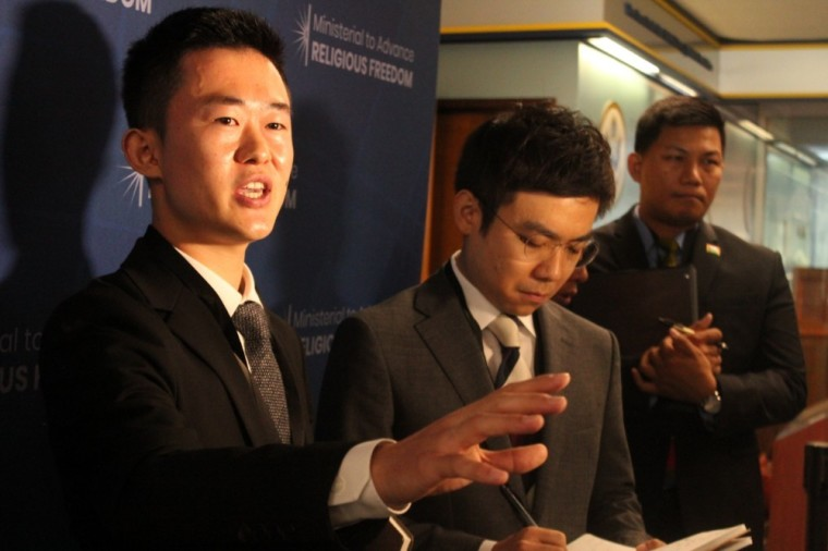 North Korean defector Illyong Ju speaks with the press at the U.S. State Department's Ministerial to Advance Religious Freedom at the Harry S. Truman Building in Washington, D.C. on July 17, 2019. | The Christian Post