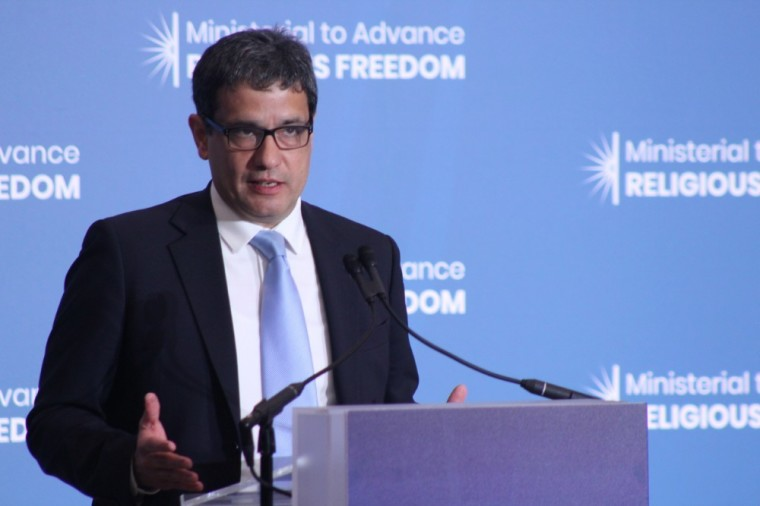 Shaan Taseer speaks at the second State Department Ministerial to Advance Religious Freedom at the Harry S. Truman Building in Washington, D.C. on July 17, 2019.