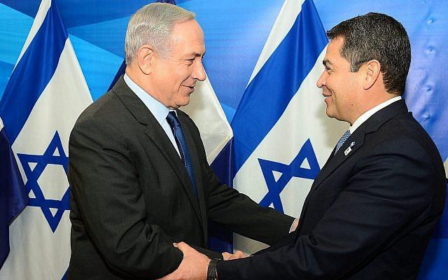 Prime Minister Benjamin Netanyahu (left) meets with Honduras President Juan Orlando Hernandez in Jerusalem