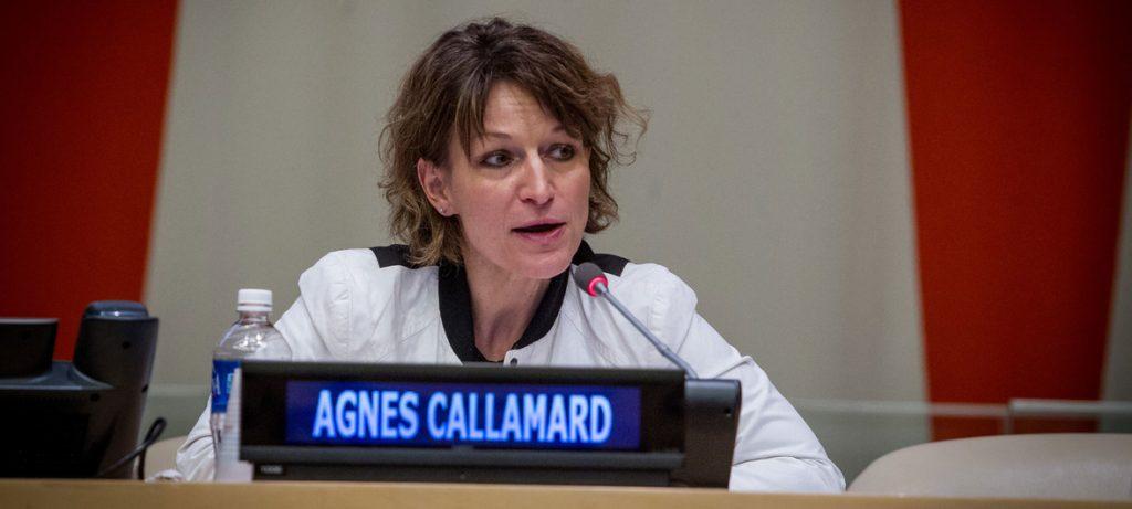 Ms. Agnes Callamard, UN Special Rapporteur on extrajudicial, summary or arbitrary executions.