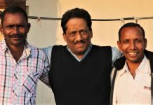 Journalist Anto Akkara with Bijaya Kumar Sanaseth (left) and Gornath Chalanseth. (Morning Star News)
