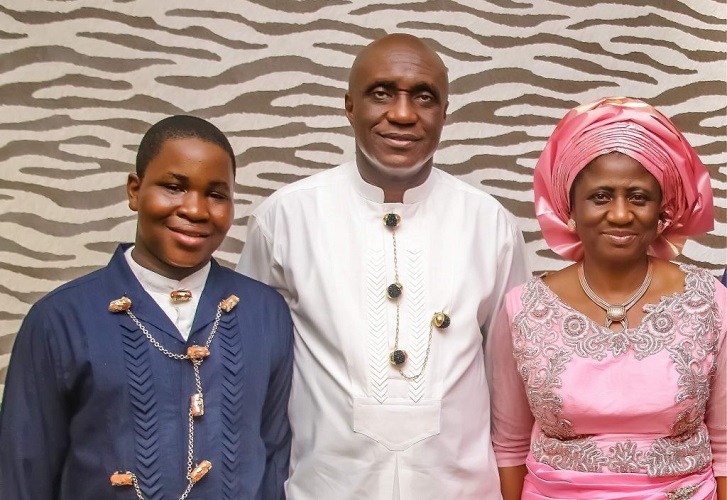 Pastor David Ibiyeomie with his wife Pst. Mrs. Peace Ibiyeomie, and son David Ibiyeomie jnr.