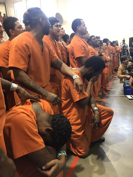 Kanye West left inmates in tears as he held a private worship Service for the inmates at Harris County Jail in Houston Texas.