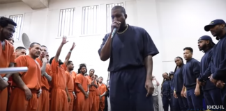Kanye West left inmates in tears as he held a private worship Service for them at Harris County Jail in Houston Texas.