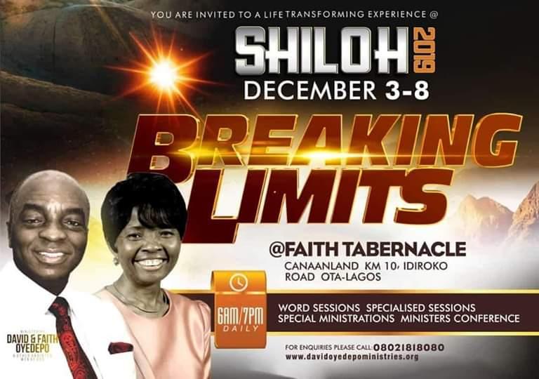 Shiloh 2019 Programme Schedule Breaking Limits Believers Portal