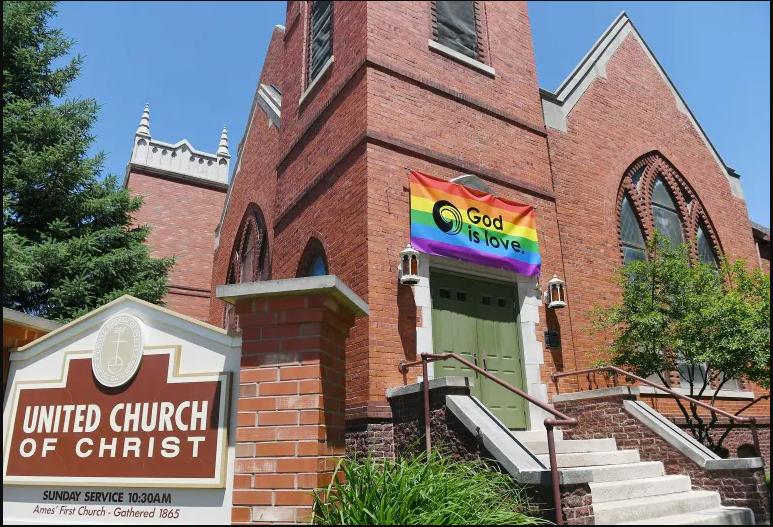 LGBTQ Flag At Ames United Church of Christ