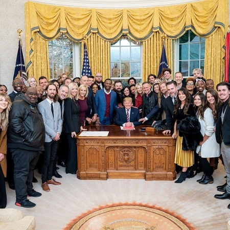 Worship leader Eddie James (2nd L) with President Donald Trump and other popular Christian leaders and musicians on December 6, 2019.