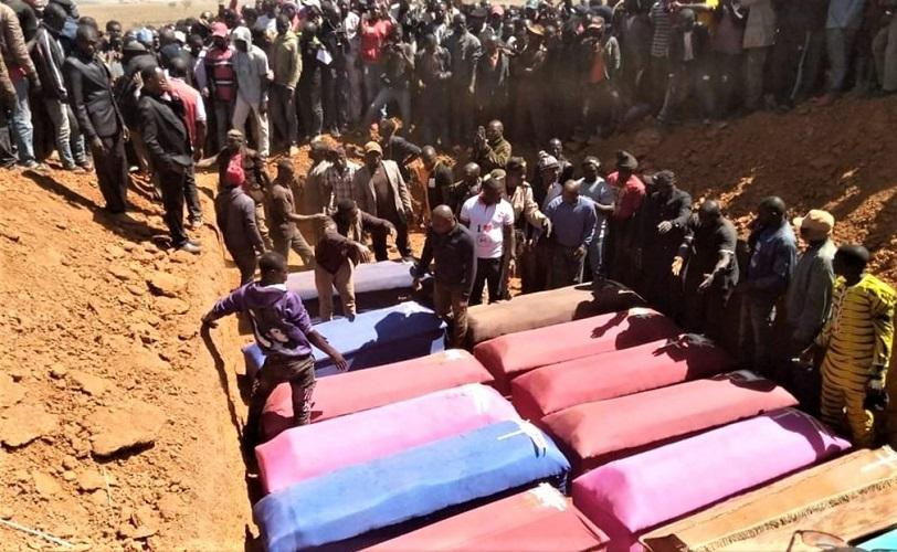 Burial for victims of Muslim Fulani herdsmen attacks near Bokkos, Nigeria