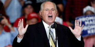 "Radio personality Rush Limbaugh announced Monday he's been diagnosed with ""advanced"" lung cancer. (AP Photo)"