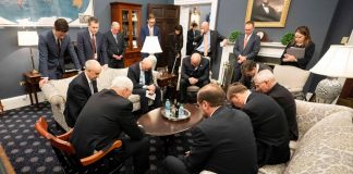 VP Mike Pence Praying with Coronavirus Task Force