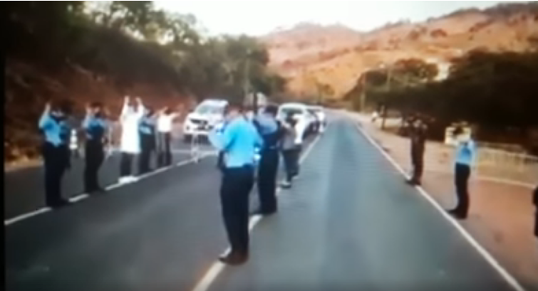 COVID-19: Police On Duty Worship and Pray Along The Road (Video)