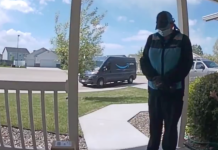 Amazon delivery driver Monica Salinas stops by to pray for a baby with heart condition