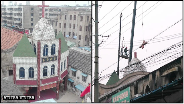 Workers removed a cross from the top of Gulou Church in Fuyang city