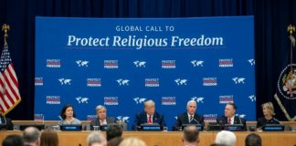 Vice President Mike Pence (third from the right) speaks during an event promoting international religious freedom at the United Nations headquarters in New York City on Sept. 23, 2019. Seated immediately to Pence's right is President Donald Trump.
