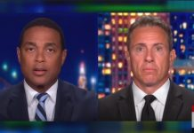 """CNN host Don Lemon (Left) talks with Chris Cuomo (Right) on a July 2020 episode of """"CNN Tonight."""""""
