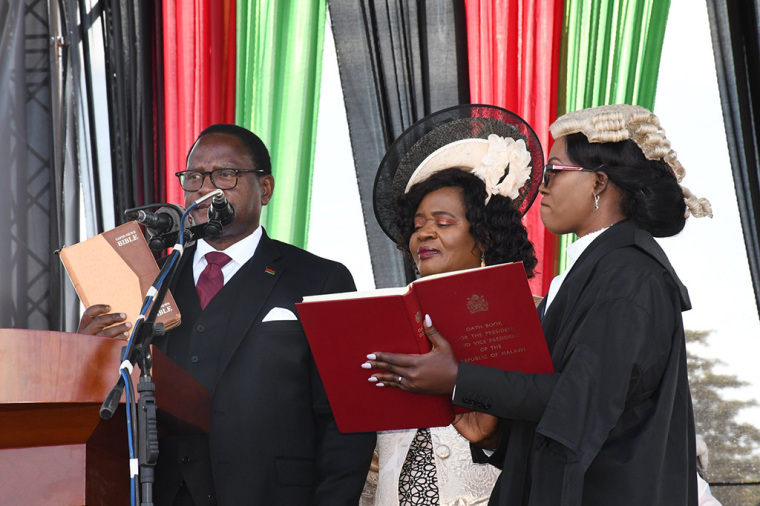 Dr. Lazarus Chakwera taking Oath of Office as President of the Republic of Malawi on June 28, 2020.