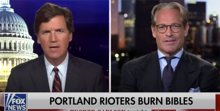 Eric Metaxas speaks to Tucker Carlson on Fox News Aug. 6, 2020