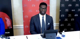 Benjamin Watson speaks at a press conference in Washington, D.C., on the violence in Nigeria on Sept. 16, 2020.