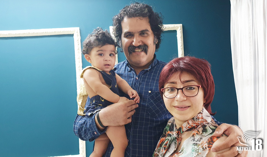 Sam Khosravi (L) and wife Maryam Falahi (R) and their daughter, Lydia.