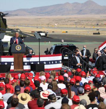 U.S. President Donald Trump speaks at a Make America Great Again campaign rally on October 19, 2020, in Prescott, Arizona.