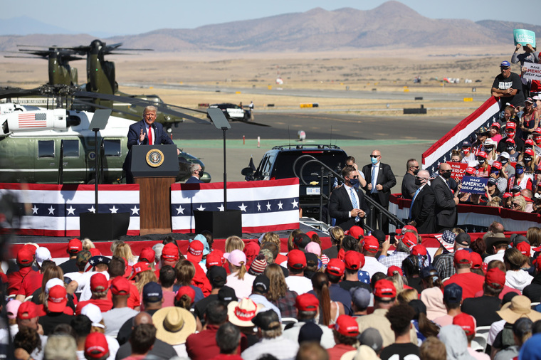 U.S. President Donald Trump speaks at a Make America Great Again campaign rally on October 19, 2020, in Prescott, Arizona.