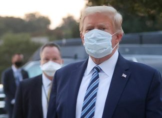 President Donald Trump on facemask