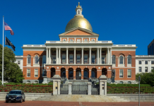 The Massachusetts State House in Boston, Massachusetts.