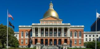 The Massachusetts State House in Boston, Massachusetts.