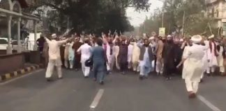 Angered Radical Muslims in Lahore, Pakistan, protest the release of Christian mother Asia Bibi after she spent eight years on death row on Oct. 31, 2018.